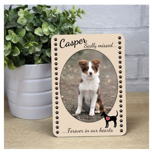 Pet Dog Memorial Bereavement Sadly missed Keepsake Wood Photo Frame Print Gift F31